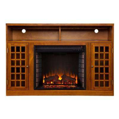 Amelia 48 in. Freestanding Media Electric Fireplace in Glazed Pine