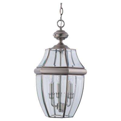 Lancaster 3-Light Antique Brushed Nickel Outdoor Pendant