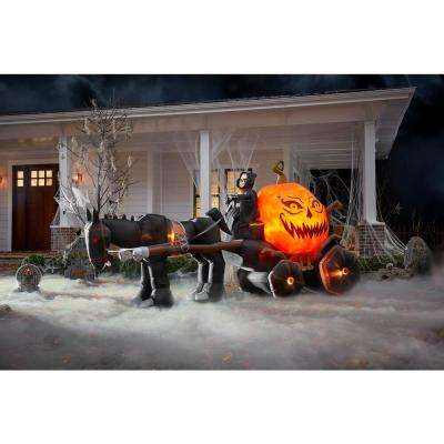 14 ft. Fire Ice Grim Reaper and Carriage Wide Projection Inflatable