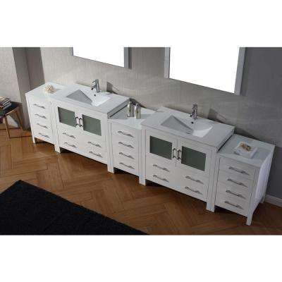 Dior 127 in. W Bath Vanity in White with Ceramic Vanity Top in White with Square Basin and Mirror and Faucet