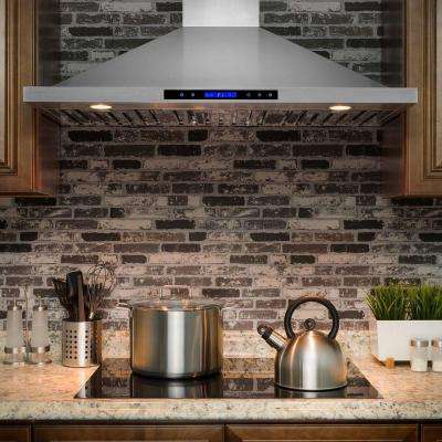 42 in. Convertible Kitchen Wall Mount Range Hood in Stainless Steel with Remote, Touch Control and Carbon Filter