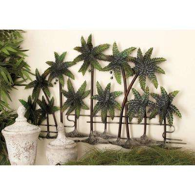 38 in. x 25 in. New Traditional Green and Brown Metal Palm Wall Decor