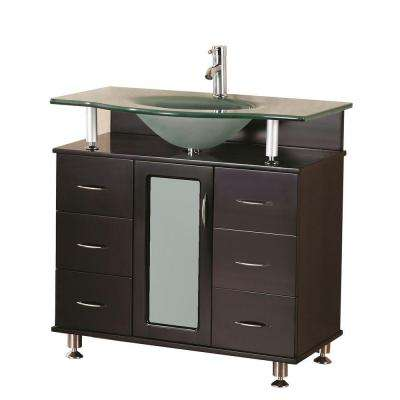 Huntington 36 in. W x 22 in. D Vanity in Espresso with Glass Vanity Top in Aqua