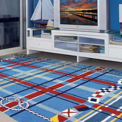 Nautical Plaid Blue 8 ft. x 10 ft. Indoor/Outdoor Area Rug