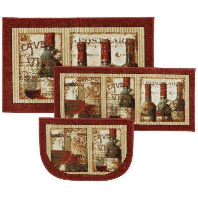 French Cellar Multi 2 ft. 6 in. x 4 ft. 3-Piece Rug Set