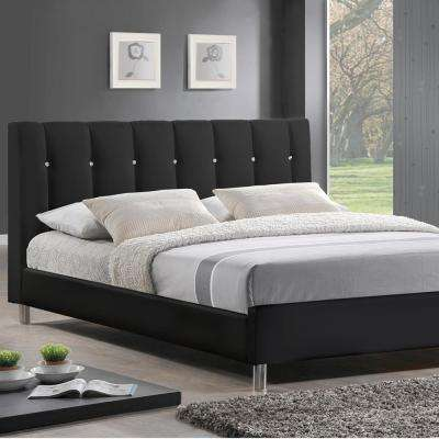 Vino Transitional Black Faux Leather Upholstered Full Size Bed