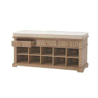 Manor 3-Drawer Shoe Bench in Washed Oak