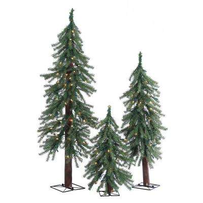 2 ft., 3 ft. and 4 ft. Pre-Lit Alpine Artificial Christmas Trees with Clear Lights (3-Piece Set)