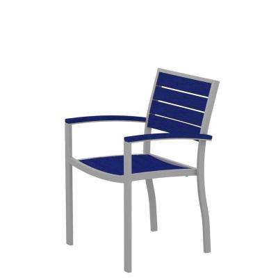 Euro Textured Silver Patio Dining Arm Chair with Pacific Blue Slats