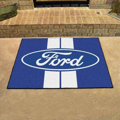 Ford - Oval with Stripes Blue 3 ft. x 4 ft. Indoor Rectangle Area Rug