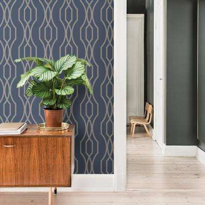 56.4 sq. ft. Coventry Blue Trellis Wallpaper