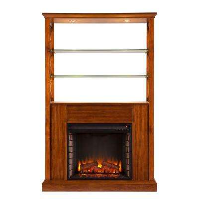 Carter 40 in Electric Fireplace Curio Tower - Oak Saddle