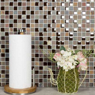 Mineral Brown Square Mosaic 1 in. x 1 in. Glass and Stone Mesh Mounted Wall Tile (0.98 Sq. ft.)