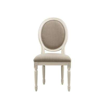French Oval Dark Beige Linen Upholstered Side Chair (Set of 2)