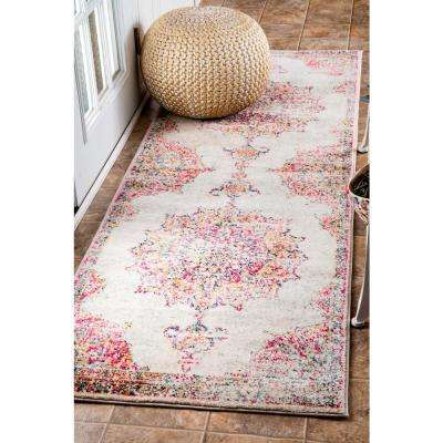 Sunny Wildflower Medallion Pink 3 ft. x 12 ft. Runner Rug