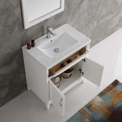 Cambridge 30 in. Vanity in White with Porcelain Vanity Top in White with White Ceramic Basin and Mirror