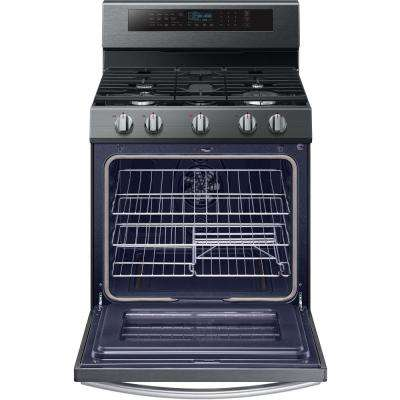 30 in. 5.8 cu. ft. Single Oven Gas Range with True Convection Oven in Fingerprint Resistant Black Stainless