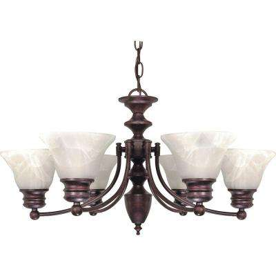Empire 6-Light Old Bronze Chandelier with Alabaster Glass Bell Shades