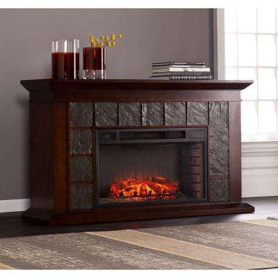 Marcos 60 in. Freestanding Electric Fireplace in Warm Brown Walnut