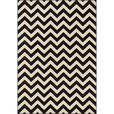 Shelton Lifestyle Collection Black/Ivory 3 ft. 10 in. x 5 ft. 7 in. Area Rug