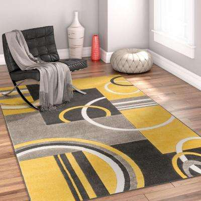 Ruby Galaxy Waves Gold 5 ft. x 7 ft. Modern Area Rug