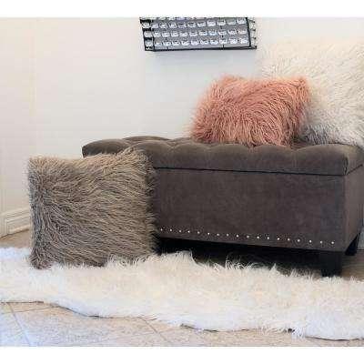 Rockwall Stone White 2 ft. x 6 ft. Mongolian Sheepskin Faux Fur Double Indoor Rug