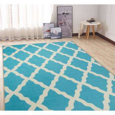Clifton Collection Moroccan Trellis Design Blue 5 ft. x 7 ft. Area Rug