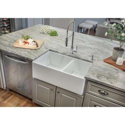 Farmhouse Apron Front Fireclay 33 in. 60/40 Double Bowl Kitchen Sink in White