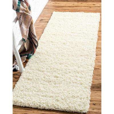 Solid Shag Pure Ivory 20 ft. Runner Rug
