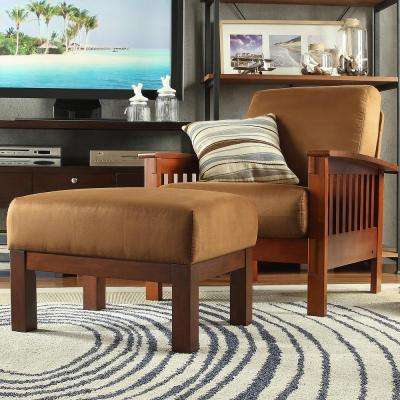 Rust Microfiber Cushioned Arm Chair with Ottoman