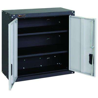 Garage Series 27 in. 2 Door Wall Cabinet with 2 Shelves in Black and Gray