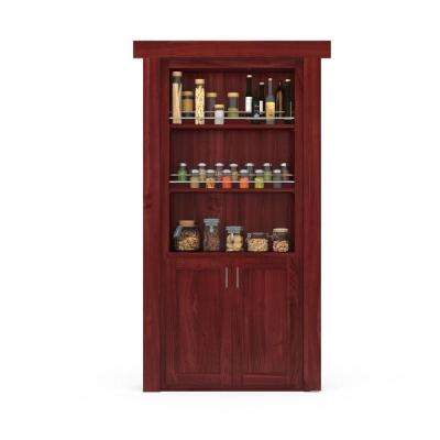 32 in. x 80 in. Flush Mount Assembled Forward Pantry Door Cherry Cherry Stained Right-Hand Outswing