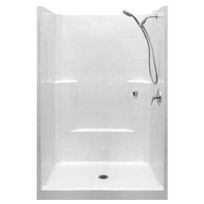 Standard-SA 42 in. x 42 in. x 80 in. 1-Piece Low Threshold Shower Stall in White with RHS Shower Kit and Center Drain