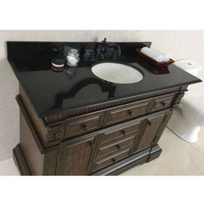 Menlo 50 in. W x 22 in. D x 36 in. H Single Vanity in Sable Walnut with Granite Vanity Top in Black with White Basin