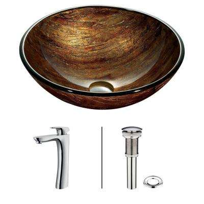 Amber Sunset Vessel Sink in Multicolor with Faucet in Chrome