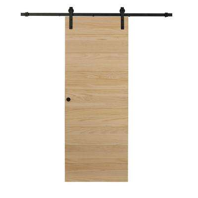 36 in. x 84 in. Timber Hill Horizontal Unfinished Pine Wood Barn Door with Sliding Door Hardware Kit