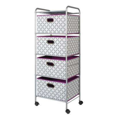 4 Drawer Cart in Medallion Grey and White