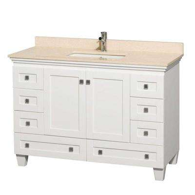 Acclaim 48 in. Vanity in White with Marble Vanity Top in Ivory and Square Sink