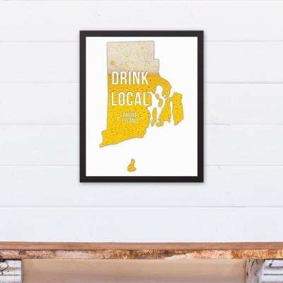 "16 in. x 20 in. ""Rhode Island Drink Local Beer  "" Printed Framed Canvas Wall Art"