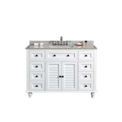 Heather 48 in. W x 22 in. D Vanity in White with Granite Vanity Top in Beige with White Basin