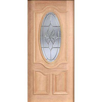 Mahogany Type Unfinished Beveled Patina 3/4 Oval Glass Solid Wood Front Door Slab