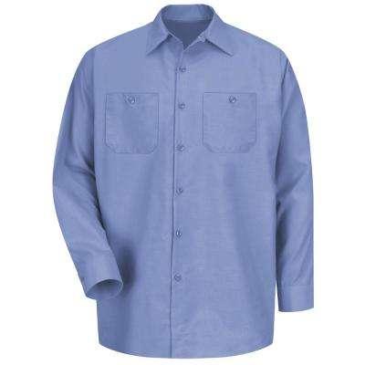 Men's Light Blue Long-Sleeve Work Shirt