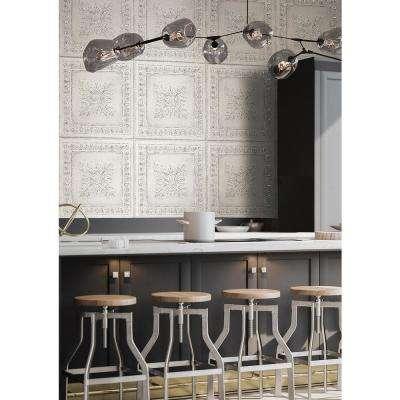 Ornamental Off-White Tin Tile Wallpaper
