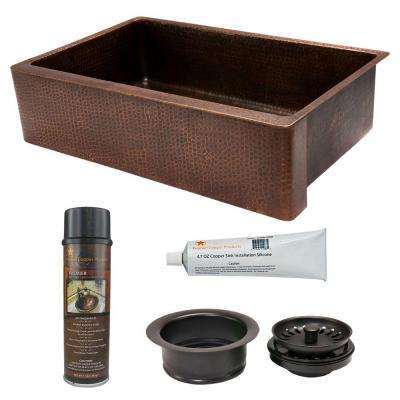 Undermount Hammered Copper 35 in. 0-Hole Single Bowl Kitchen Sink and Drain in Oil Rubbed Bronze