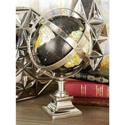 10 in. x 15 in. Black Ocean Globe with Caged Frame and Stand