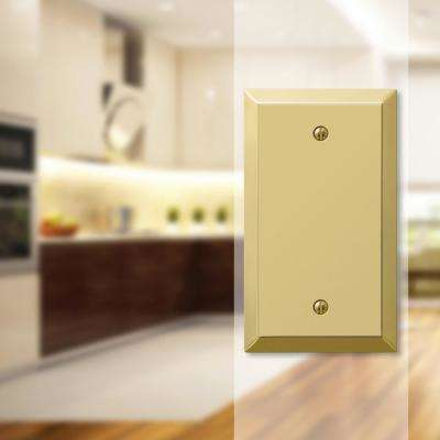 Metallic 1 Gang Blank Steel Wall Plate - Polished Brass