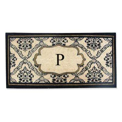 A1HC First Impression Uriel Treated 24 in. x 57 in. Coir Monogrammed P Door Mat