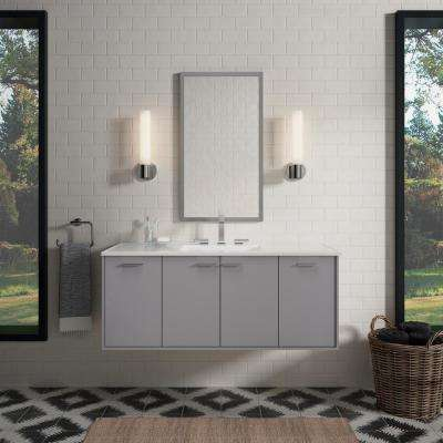 Jute 48 in. W Wall-Hung Vanity in Mohair Grey with Vitreous China Vanity Top in White Impressions with White Basin