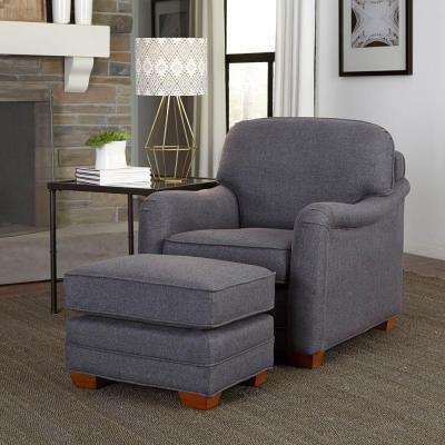 Magean Grey Polyester Arm Chair with Ottoman