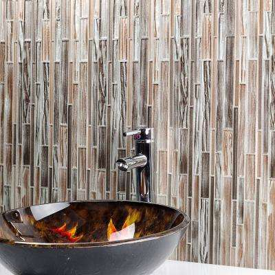 Midtown Sense Railroad Gold 11.87 in. x 12.62 in. Polished Glass Wall Tile (1.04 sq. ft.)